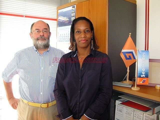 Jean-Yves Depreux, président de Seatrade avec Karine Joseph-Mathurin, de Transcaraïbes, l'agent de ligne.